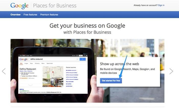 Giao diện của Google Places Business